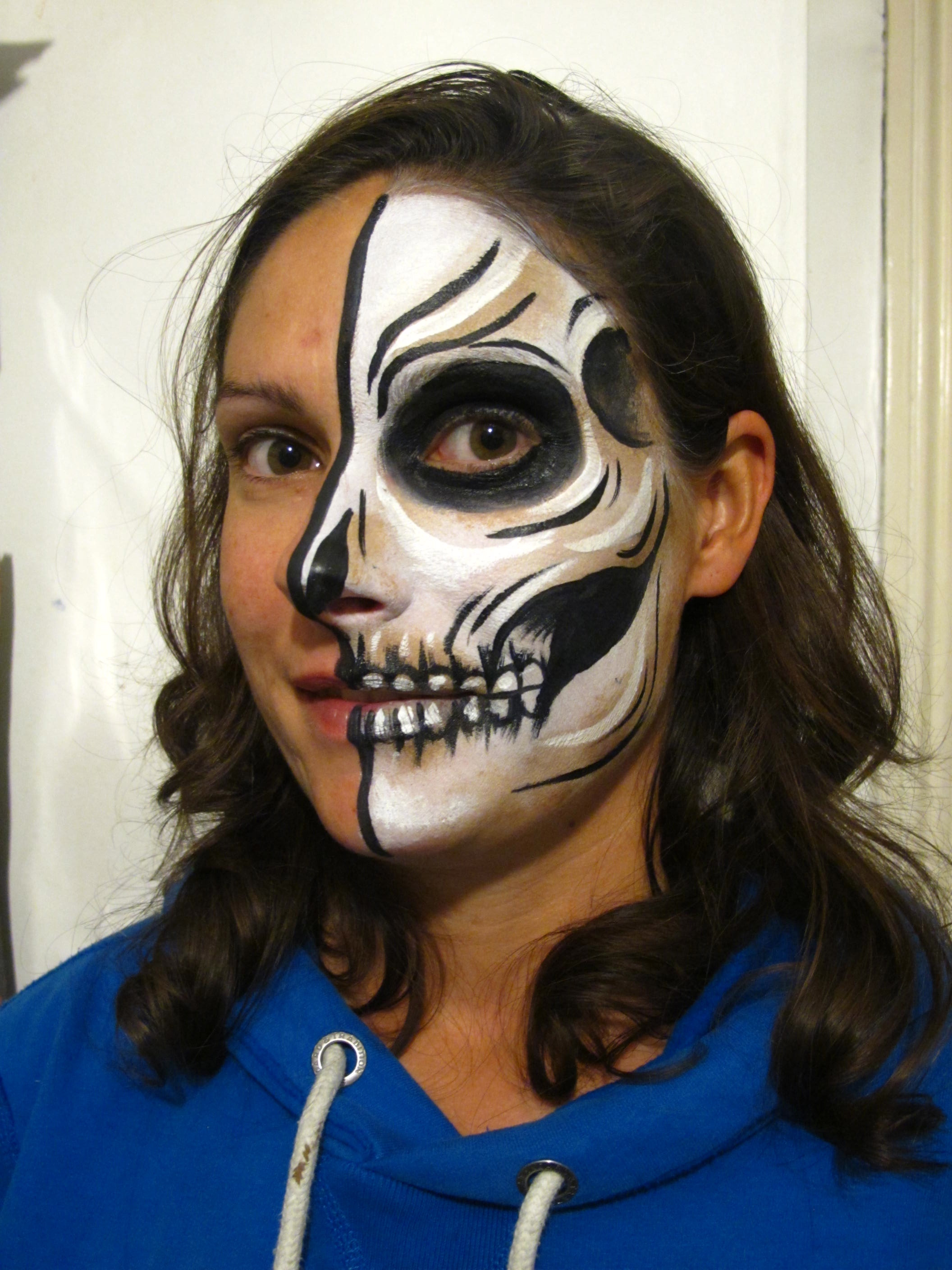 Sugar Skull Half Face Paint Tutorial