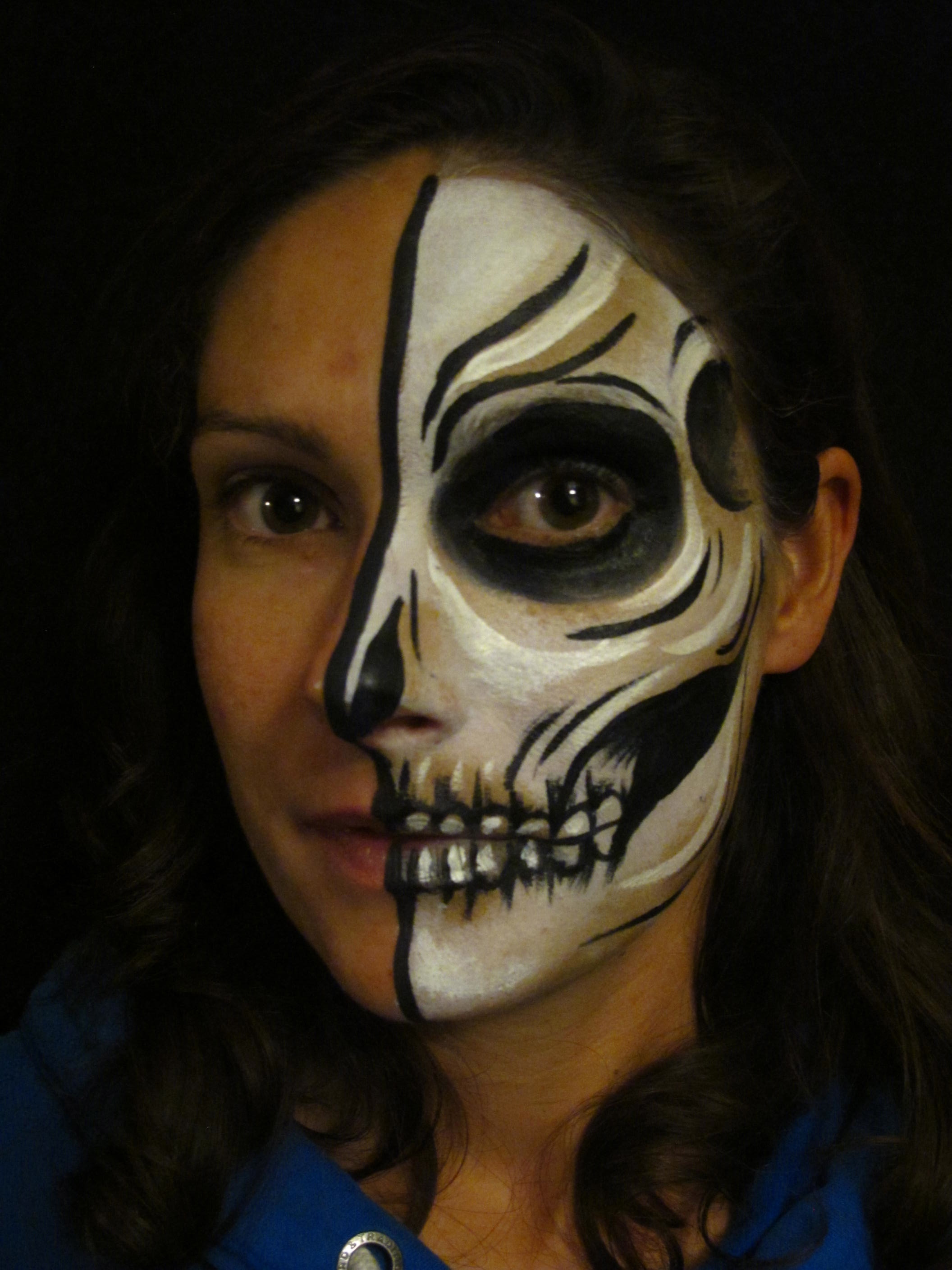 half skull face paint tutorial coochiecrunch. Black Bedroom Furniture Sets. Home Design Ideas