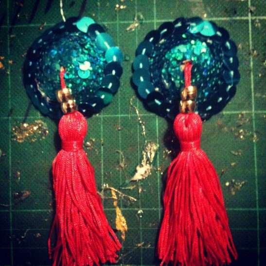 Tourquoise, red and gold tassels by Tuesday Laveau
