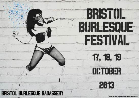Banksy inspired Bristol Burlesque Festival poster. Featuring Tuesday Laveau and created by Dawn Wilkins Photography. (c) Bristol Burlesque Festival 2013 & Dawn Wilkins Photography