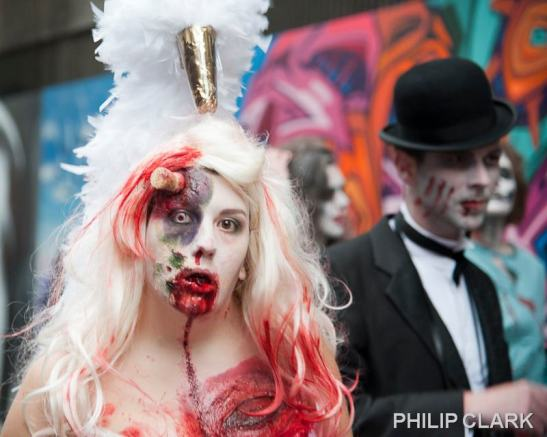 Let your zombified self out with blood, guts and a showgirl headdress. (c) Philip Clark