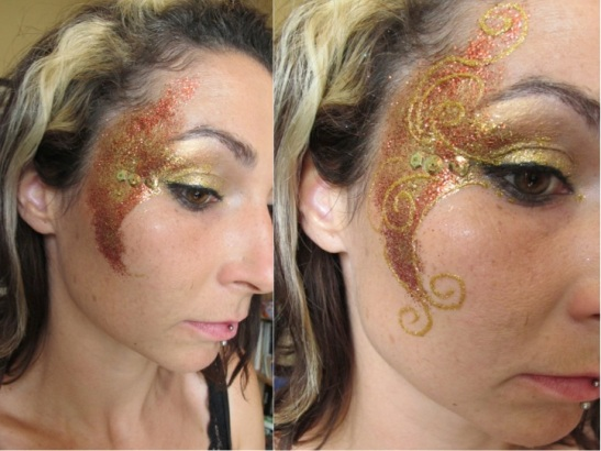 Gold Glitter Face Paint Finished (c) Alana Dunlevy