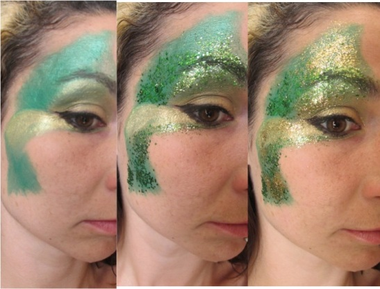 Green and Gold Glitter Face Paint Part 1 (c) Alana Dunlevy