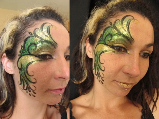 Green and Gold Glitter Face Paint Finished (c) Alana Dunlevy