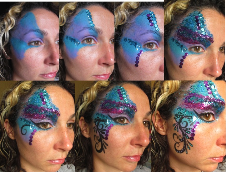 Purple and Blue Glitter Face Paint Step-by-Step (c) Alana Dunlevy