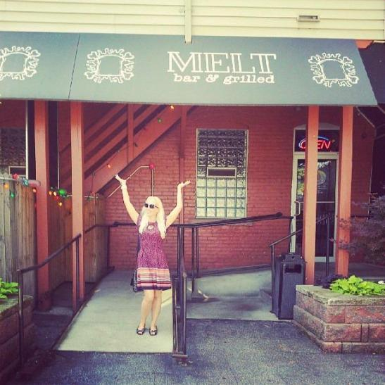 Sandy Sure outside Melt Bar and Grilled, Cleveland Ohio. (c) Sandy Sure