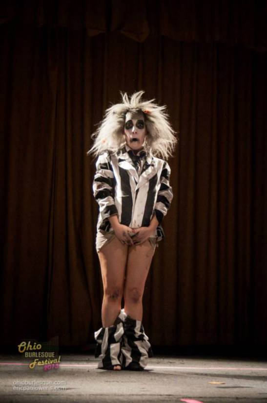 Sandy Sure as Beetlejuice at the 2013 Ohio Burlesque Festival. (c) Ohio Burlesque Festival