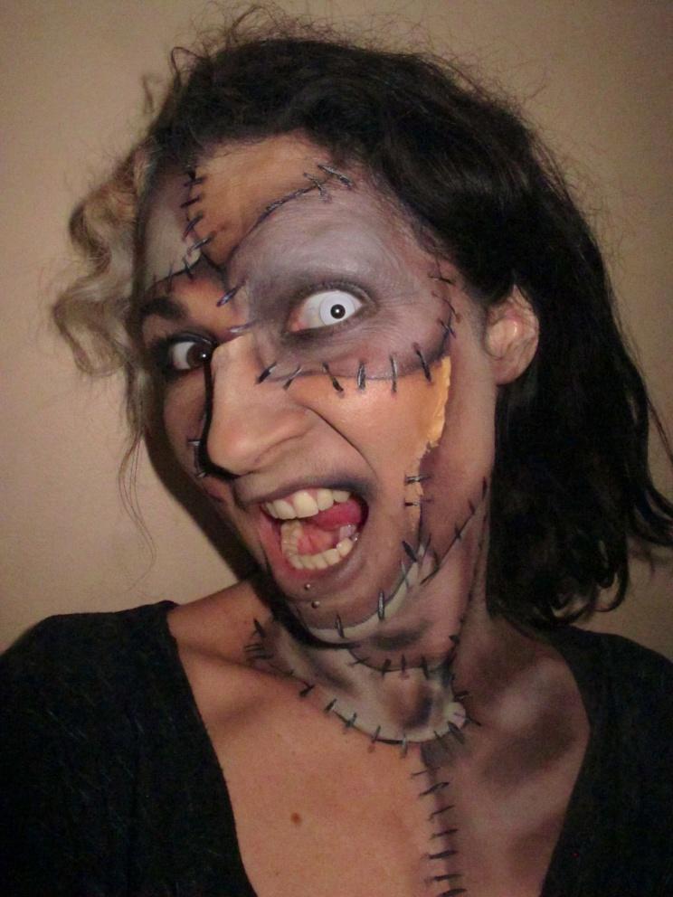 Frankenstein's Monster Face Paint (c) Alana Dunlevy