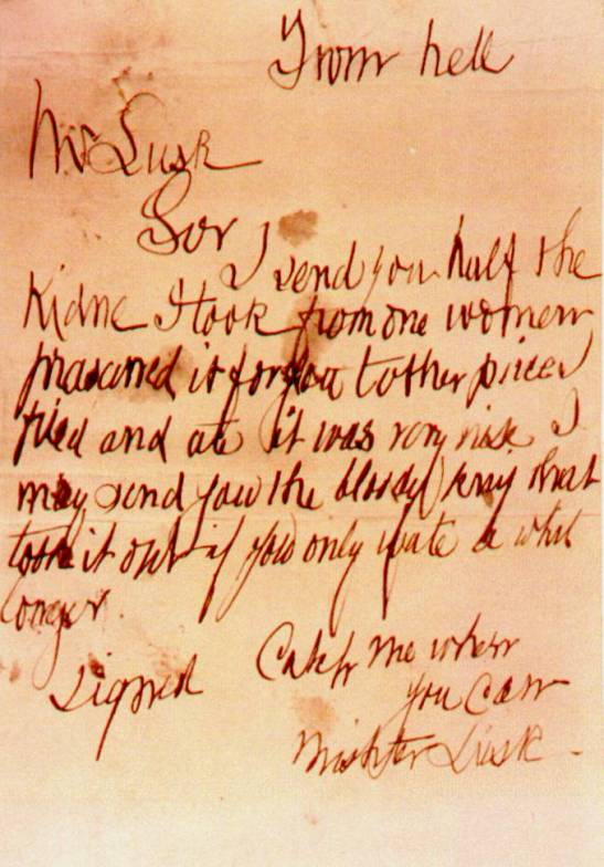 The 'From Hell' or 'Lusk' letter.