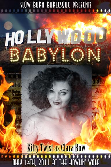 Hollywood Babylon Flyer featuring Kitty Twist as Clara Bow