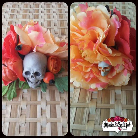 Skull hair flowers by Rockabilly Red https://www.etsy.com/shop/RockabillyRedBristol?ref=ss_profile