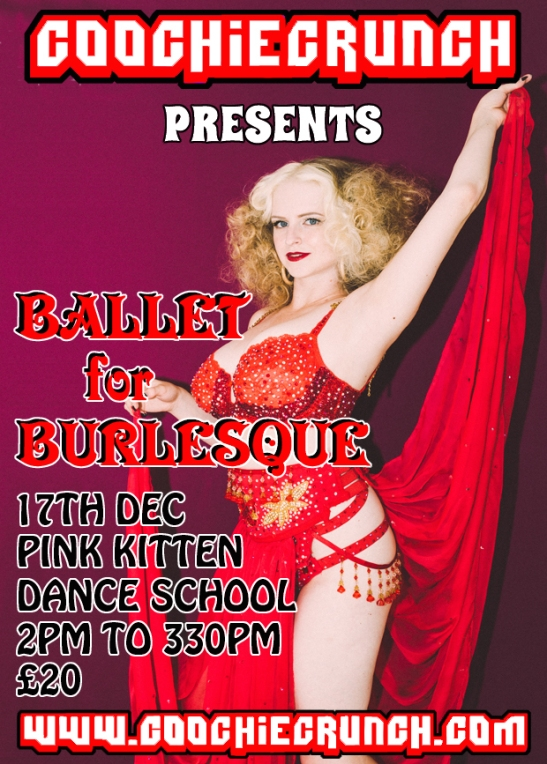CoochieCrunch: Presents Ballet for Burlesque with Lolita VaVoom Saturday 17 December 2016 at Pink Kitten Dance School, Bristol UK Rica Rosa Photography. Artwork by Graeme Shankland.