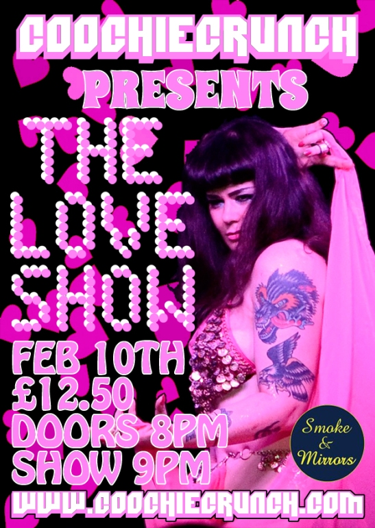 CoochieCrunch Presents: The LOVE Show, Friday 10 February 2017 at Smoke & Mirrors, Bristol UK Image by Vonalina Cake Design by Kids From Fridges